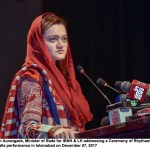 Ms. Marriyum Aurangzeb, Minister of State for IBNH & LH addressing a Ceremony of Rhytham of Liaohai Galla performance in Islamabad on December 07, 2017