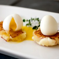 Saffron Potato Croquettes With Soft Boiled Quail Eggs