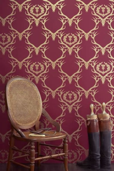 Deer Damask in Claret