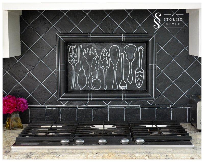 Chalkboard Paint Kitchen Backsplash over Stovetop