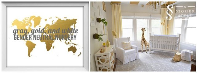 gray, gold and white gender neutral nursery