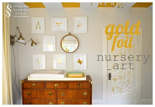 gold foil nursery art