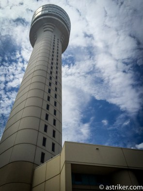 The ATL Tower that sits 16 stories above the airport on a warm afternoon.