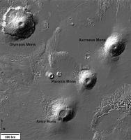 De vulkanen in Tharsis Montes