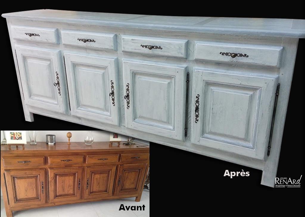 Relooking meubles galeries photos ateliers renard for Peinture decorative meuble bois