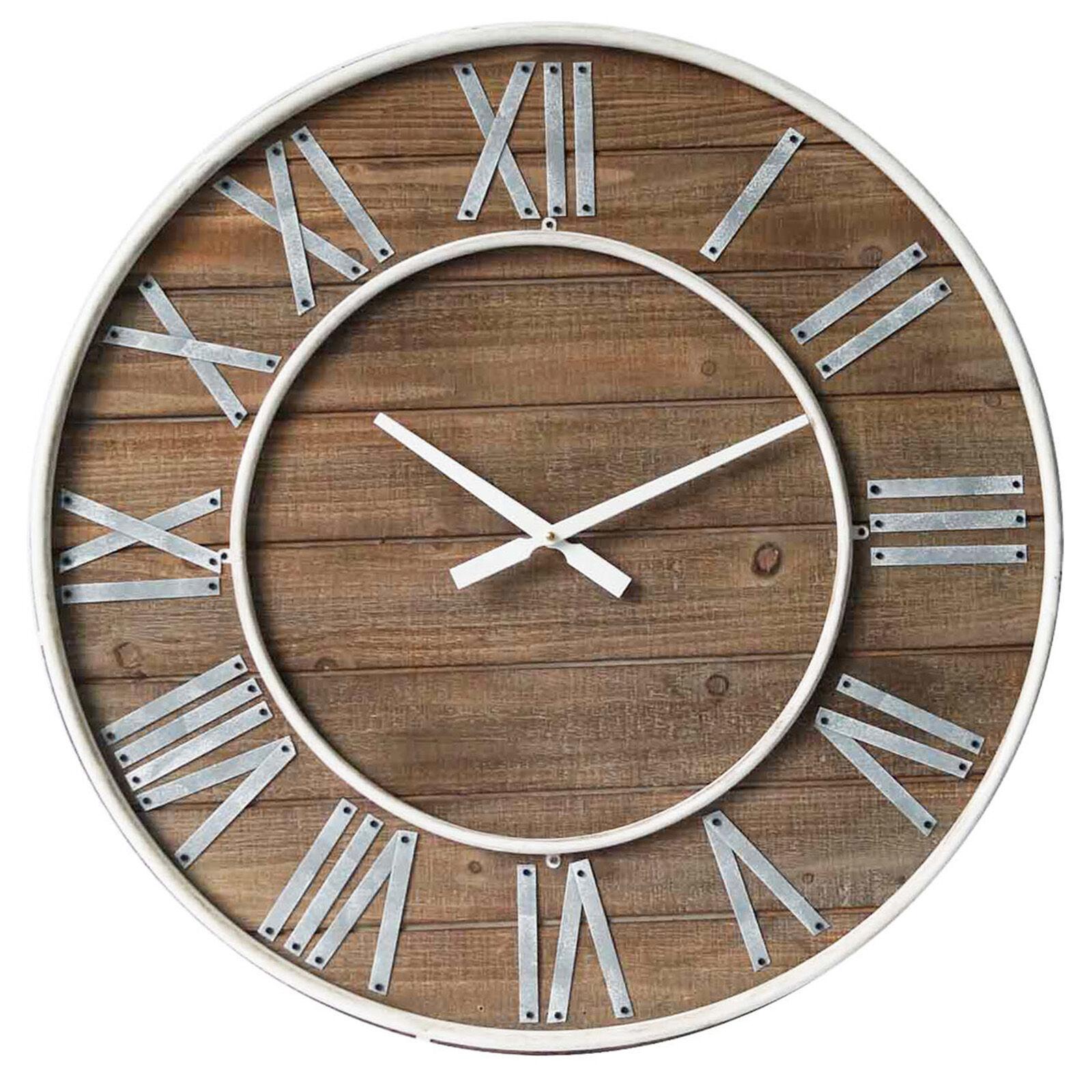 Startling Galvenized Roman Wood Clock Galvenized Roman At Home Roman Numerals Clocks Year 3 Roman Numerals Clock Tattoo Wood Clock houzz-03 Roman Numerals Clock