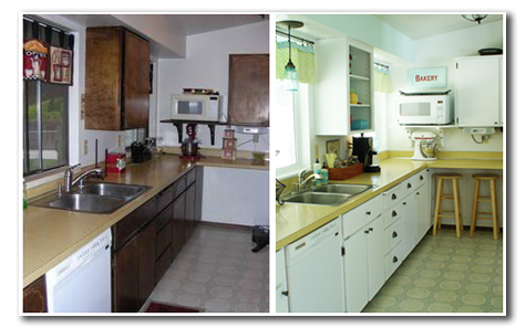 70's kitchen before and after