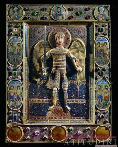 Archangel Michael with sword. Gold & enamel work with precious and semi-precious stones