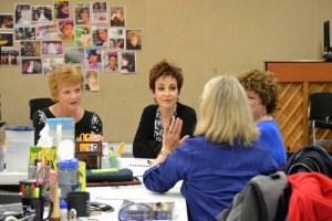 Becky Ann Baker and Annie Potts in rehearsals for Steel Magnolias at the Alliance Theatre.  Photo by Kathleen Covington