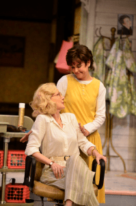 Beth Broderick and Zoë Winters in the Alliance Theatre's production of Steel Magnolias.  Photo by Greg Mooney