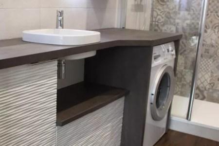 meuble salle de bain avec lave linge integre