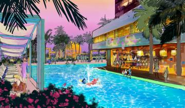 """Concept art of the swimming pool area of the proposed new hotel at the Disneyland Resort. The approximately 700 room hotel will be located on 10 acres on what is currently the Downtown Disney parking lot. The proposed hotel would be a AAA """"Four-Diamond"""" hotel.  //// ADDITIONAL INFORMATION: Concept art of the proposed new hotel at the Disneyland Resort. The approximately 700 room hotel will be located on 10 acres on what is currently the Downtown Disney parking lot. The proposed hotel would be a AAA """"Four-Diamond"""" hotel.  -  Date of photo: 06/06/16 - disney.newhotel -- Photo by: COURTESY, THE DISNEYLAND RESORT"""