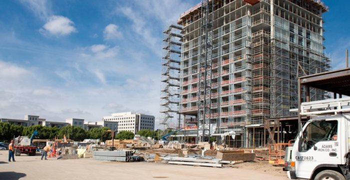 In Orange County last year six new hotels with 960 rooms came online. Biggest? The 271-room Marriott Irvine Spectrum. It's seen here under construction a year ago. (Photo by Leonard Ortiz, Orange County Register/SCNG)