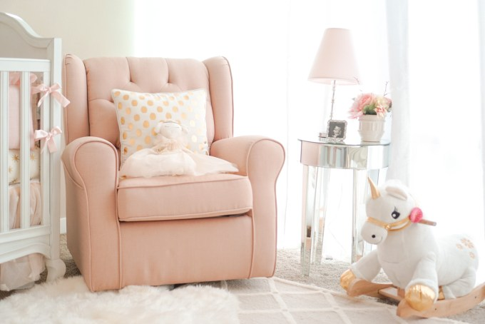 Blogger Katelyn Jones A Touch of Pink Nursery Unicorn Rocker Rockabye