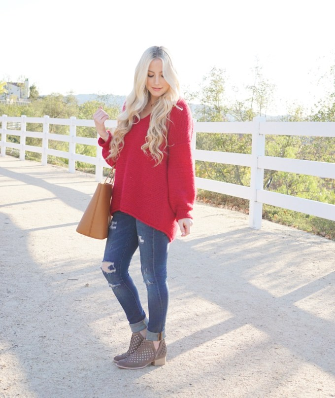 Katelyn Jones A Touch of Pink Slouchy Sweater Cute Winter Outfit Free People Sweater Nordstrom