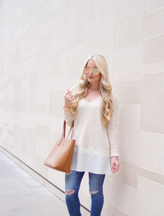 A Touch of Pink Blog Katelyn Jones Nordstrom Tunic Tory Burch Perry Tote