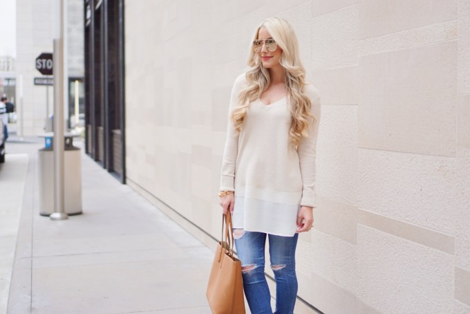 A Touch of Pink Blog Katelyn Jones Long Cream Sweater