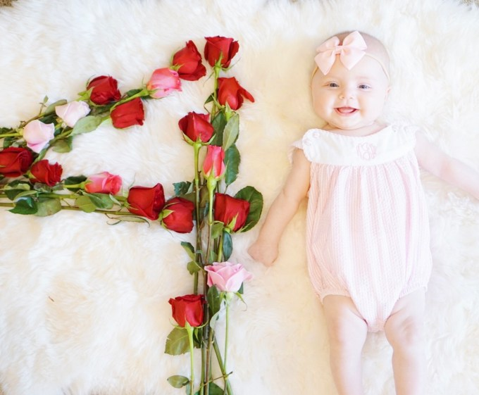 A Touch of Pink Blog Katelyn Jones Baby Girl Flower Four Month Update