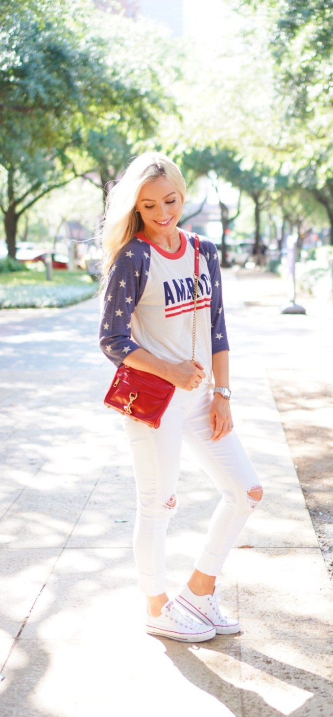Katelyn Jones A Touch of Pink Blog Summer Outfit 4th of July Red Rebecca Minkoff Handbag