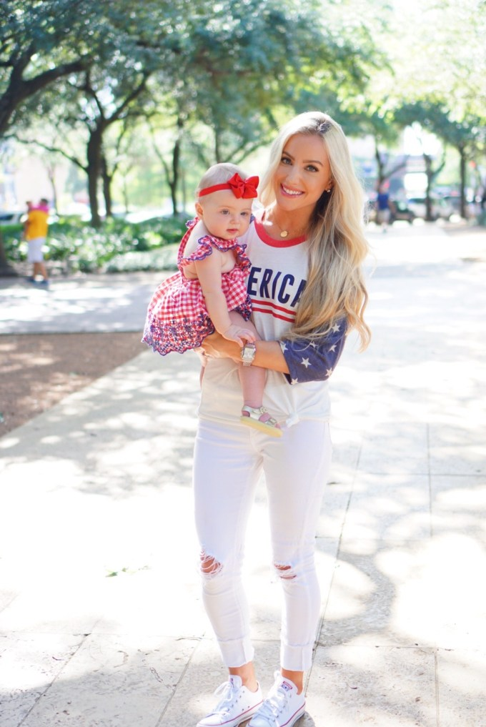 Katelyn Jones A Touch of Pink Blog Mommy Daughter Baby Girl Fourth of July Outfit