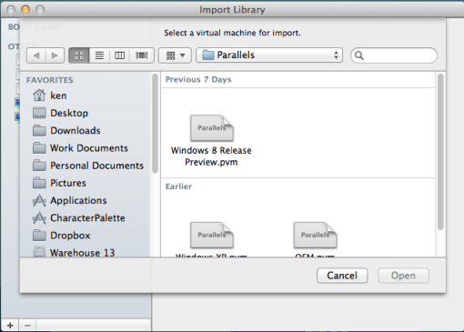 VMware Fusion 5: Importing VMs