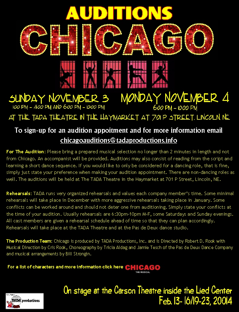 Lincoln Ne Auditions For Musical Quot Chicago Quot Auditions Free