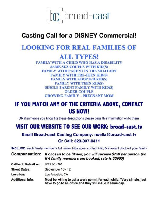 Casting Families Of All Types For Disney Tv Commercial In