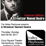 "Harrisonburg, Virginia Theater Auditions ""Streetcar Named Desire"""