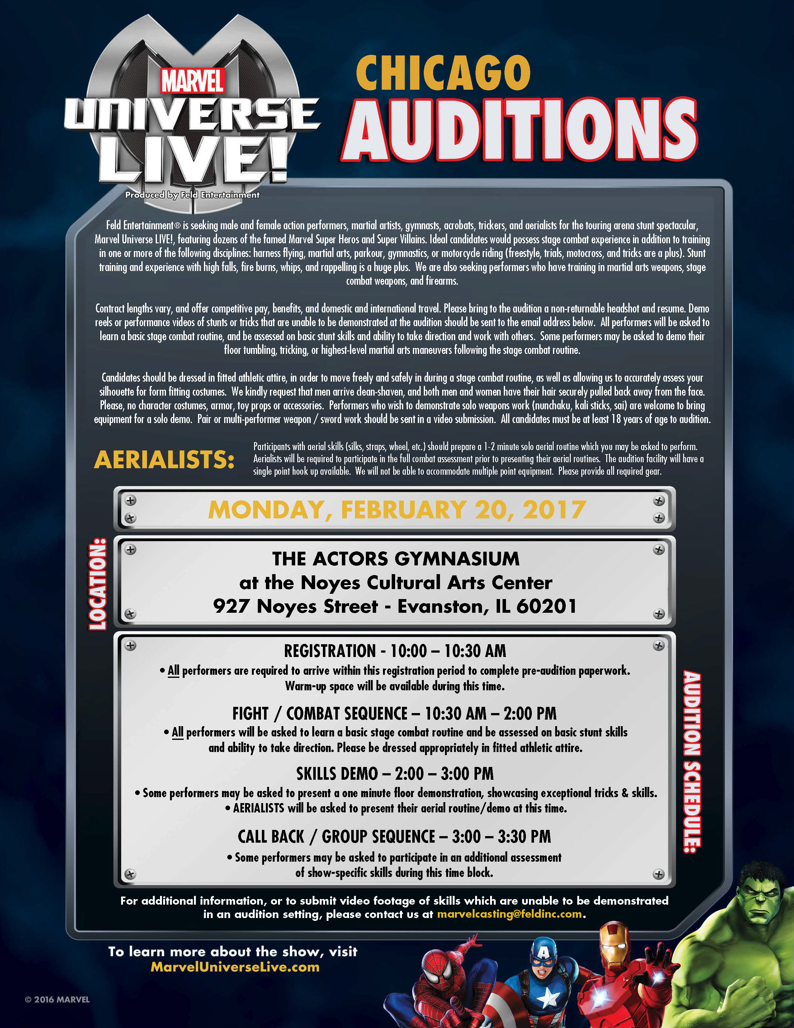 auditions for marvel universe live coming to los angeles