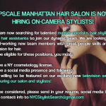 Salon / Stylist Reality Show Casting Hair Stylists and Assistants in NYC