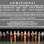 Actor Auditions in Chicago for Columbia Student Film Productions