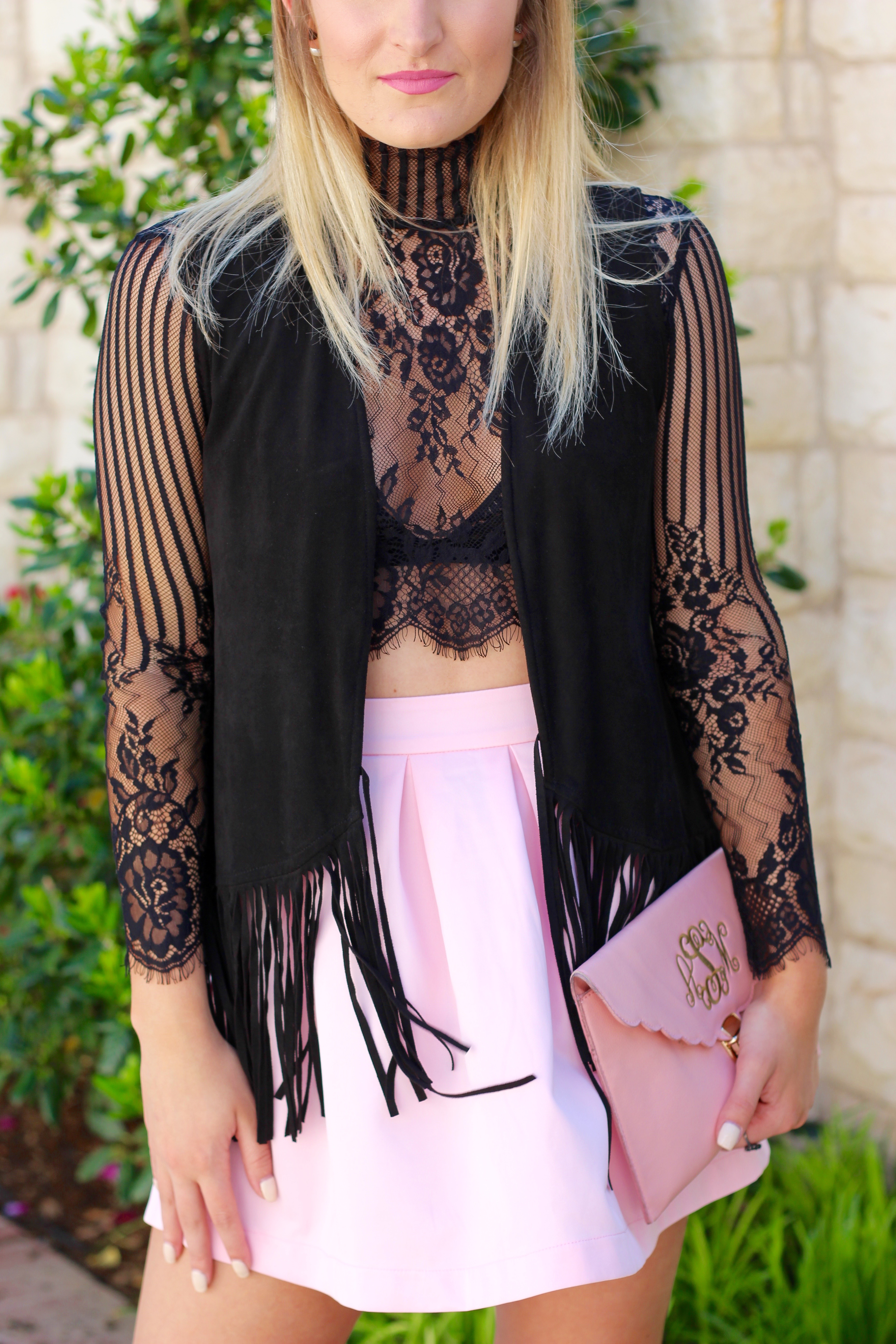fringe vest with lace top and girly pink skirt