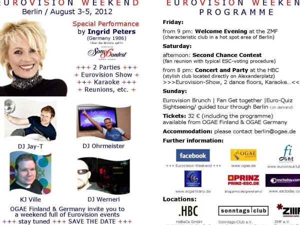Flyer Eurovision Weekend Berlin 2012