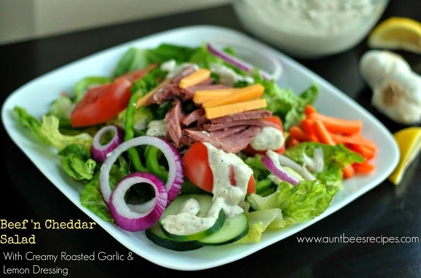 Beef 'n Cheddar Salad with Creamy Roasted Garlic & Lemon Dressing