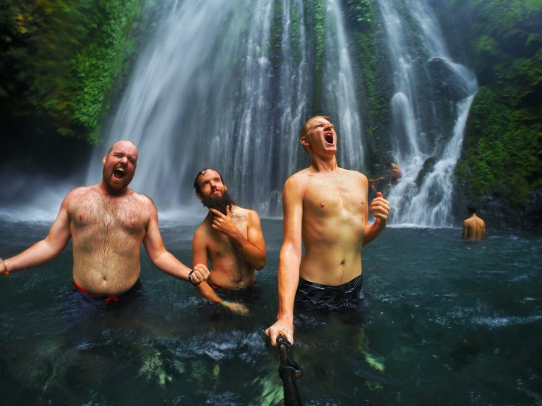 Christian rock band waterfall lombok tiu kelep bearded man