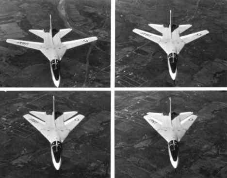 Quatro posições das asas nessa sequência (USAF)