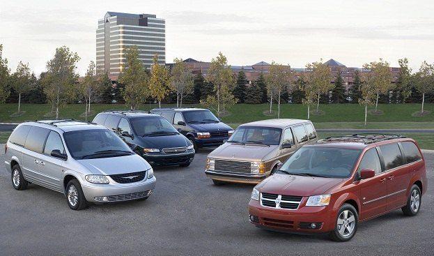 Five generations of the Minivan, 25th Anniversary Ð (L to R) 200