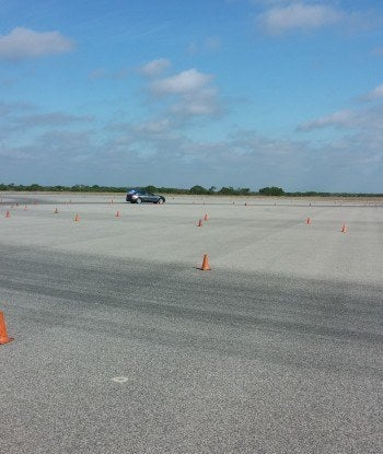 Me taking a run in the 3 Series and making the tight turns as laid out by the cones.
