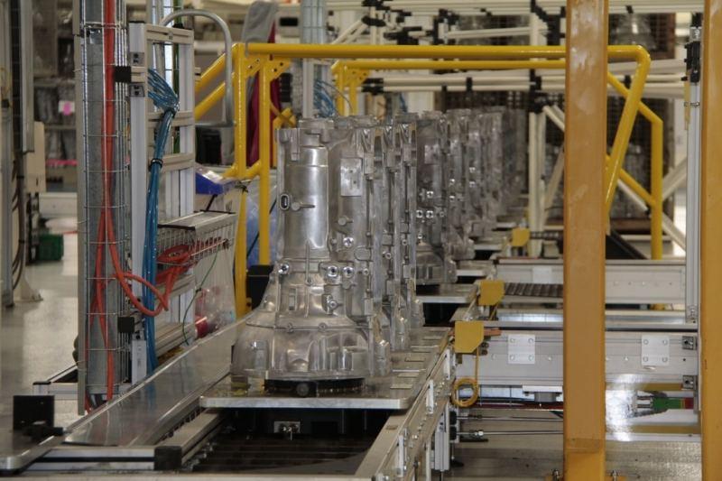 Transmission cases travel down the assembly line at Chrysler Group's Kokomo Transmission Plant.