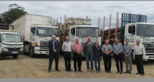 Several representatives of Hino attended the hand over of the latest 700-Series timber truck to Storah Farming in KwaZulu-Natal. Those in the photograph (from left) are: Leslie Long, Senior Manager – Marketing and Demand Planning, Hino SA; Ernie Trautmann, Vice President, Hino SA; Pieter Klerck, General Manager, Hino SA; Evan and Handri Storah of Storah Farming; Alec Harris, Commercial Vehicle Sales Consultant, Hino Pietermaritzburg; Pieter van Romburgh, General Manager, Hino Pietermaritzburg; Yasushi Muroya, Division and Senior Executive Co-ordinator, Hino Division, and Arthur Frazer, Regional Sales Manager. Hino SA.