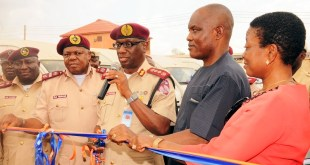 FROM LEFT: FRSC's Head, Media, Mr. Bisi Kazeem, Zonal Commanding Officer Rs9 Enugu, Mr. Samuel Obayemi; Corps Marshal, Mr. Boboye Oyeyemi; Chairman Peace Mass Transit (PMT), Mr. Sam Onyishi and Vice Chairman, Lolo Ify Onyishi during the commissioning of Peace Mass Transit 300 Newly Acquired Buses Fitted with Speed Limiting Device in Enugu. (Picture) Courtesy: Premium Times