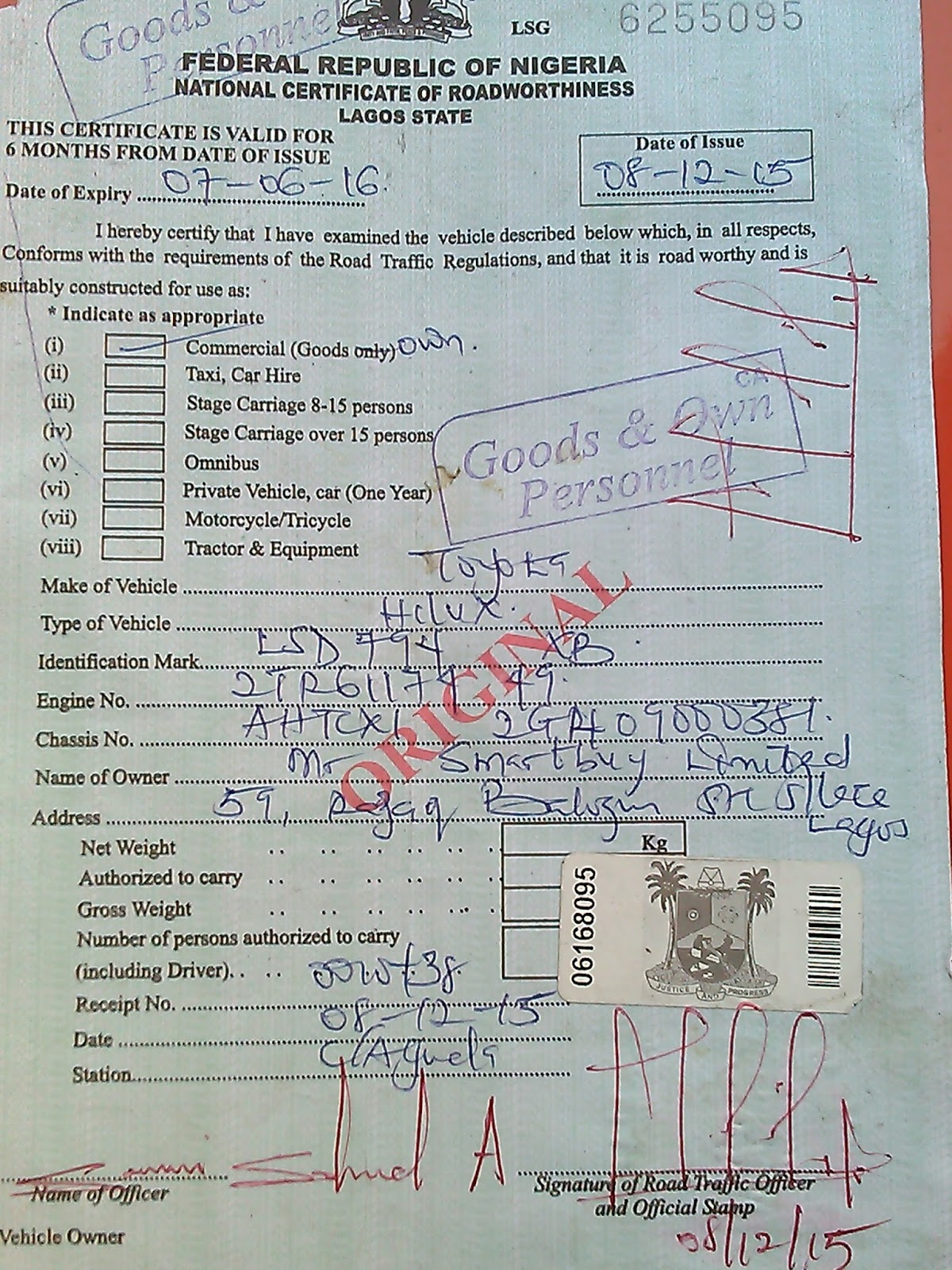 Driving in nigeria and the necessary documents required for Documents required for driving test