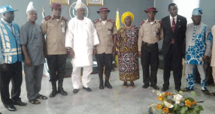 Gov. Ibikunle Amosun with Corps Commander Clement Oladele and other FRSC Commanders and Ogun State officials during the visit.