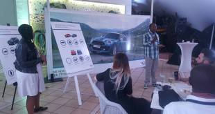 Edward Makwana, Group Product Manager, BMW Group South Africa, with Thando Pati, Product Manager, MINI, presenting-the-all-new-MINI-Countryman at a media briefing in Durban... last Thursday.