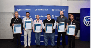 Representatives of the six winning companies proudly display their certificates at a ceremony  marking the opening of the 2017 Automechanika Johannesburg in  Nasrec....Wednesday morning. (Photographs: QuickPic)