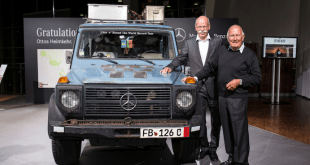 Chairman of the Board of Management of Daimler AG and Head of Mercedes-Benz Cars,Dr. Dieter Zetsche (left), with the 79-year-old Gunther Holtorf and his  cherished G –Class christened 'Otto'