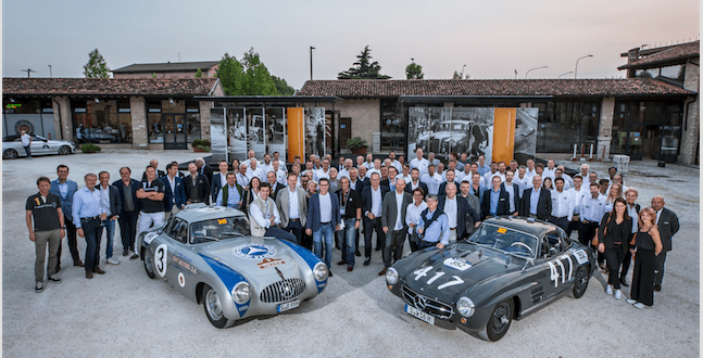 Mille Miglia 2017- The Mercedes-Benz Classic team with a Mercedes-Benz 300SL racing sports car (W194, left) and a 300SL Gullwing Coupé (W198), 17May 2017 (Photos:QuickPic)