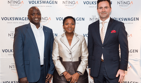 From left: Takalani Tambani, Chief Director of the DTI's black industrialists programme; Nonkqubela Maliza, VWSA Corporate and Government Affairs Director and Thomas Schaefer, VWSA Chairman/Managing Director, at the launch of the Ntinga Project in Uitenhage on Thursday (Photo: QuickPic)