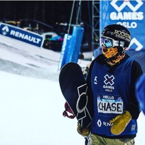 Snowboarder Chase Josey at Euro Xgames running the A7 Firefox Faceshield