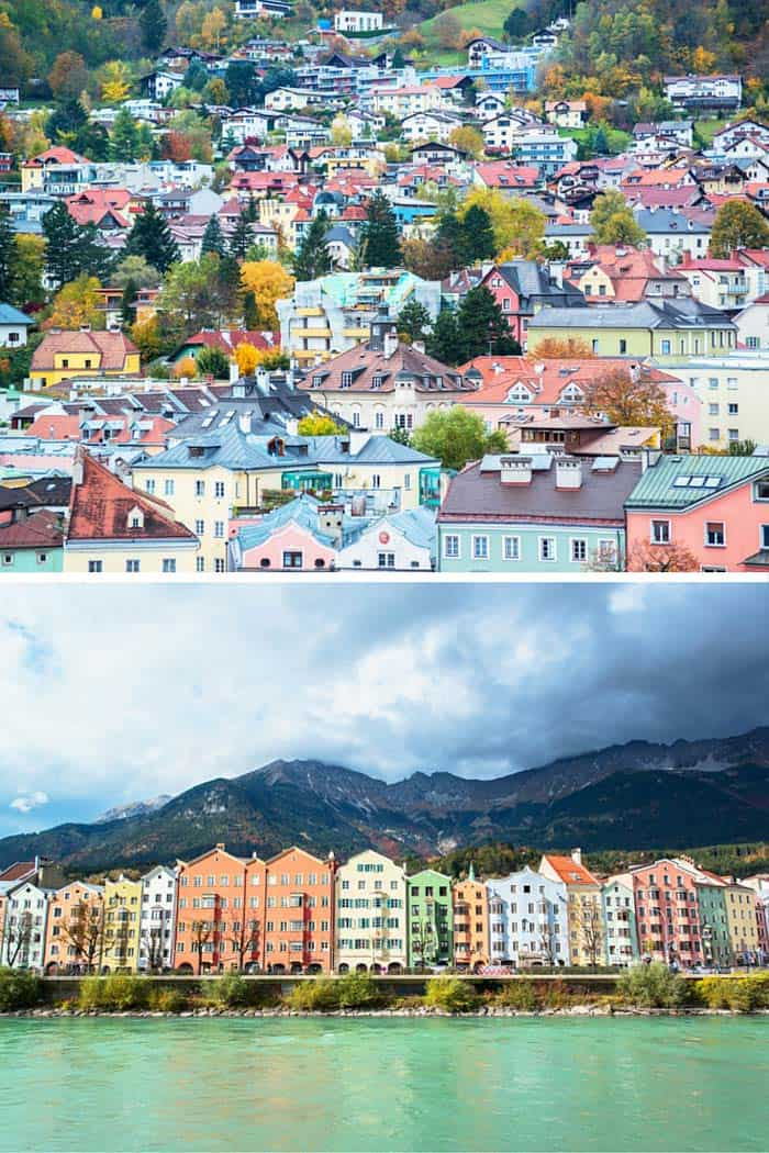 Innsbruck, Austria! Click through to see some of the most colorful cities in the world! This post does not contain industrial soot stained cities; instead it showcases some of the most vibrant looking cities in the world.